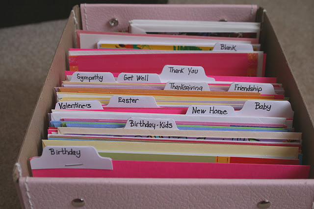 12 easy organizing projects for january echoes of laughter 4 organizing greeting cards i love this system it is so simple and yet so wonderful to not have to go searching for birthday cards or dashing out at the m4hsunfo