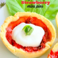 Sweet Strawberry Mini Pies with Basil Whipped Cream