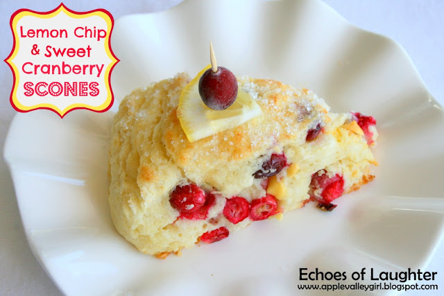 Lemon Chip & Sweet Cranberry Scones - Echoes of Laughter