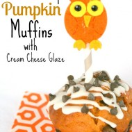 Chocolate Chip Pumpkin Muffins with Cream Cheese Glaze