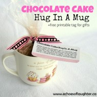 Chocolate Cake Hug In A Mug +Free Printable Tag {Gift Idea}