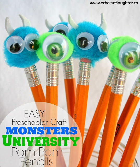 monster craft ideas monsters pom pom pencils craft echoes of 2503
