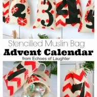 Stencilled Muslin Bag Advent Calendar