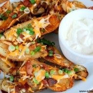 Cajun Potato Skins with Cheese, Bacon & Green Onion