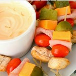Chicken Clubhouse Bites on Skewers with Sriracha Mayo Dipping Sauce
