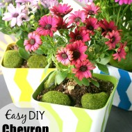 Easy Chevron Stripe Flower Pots