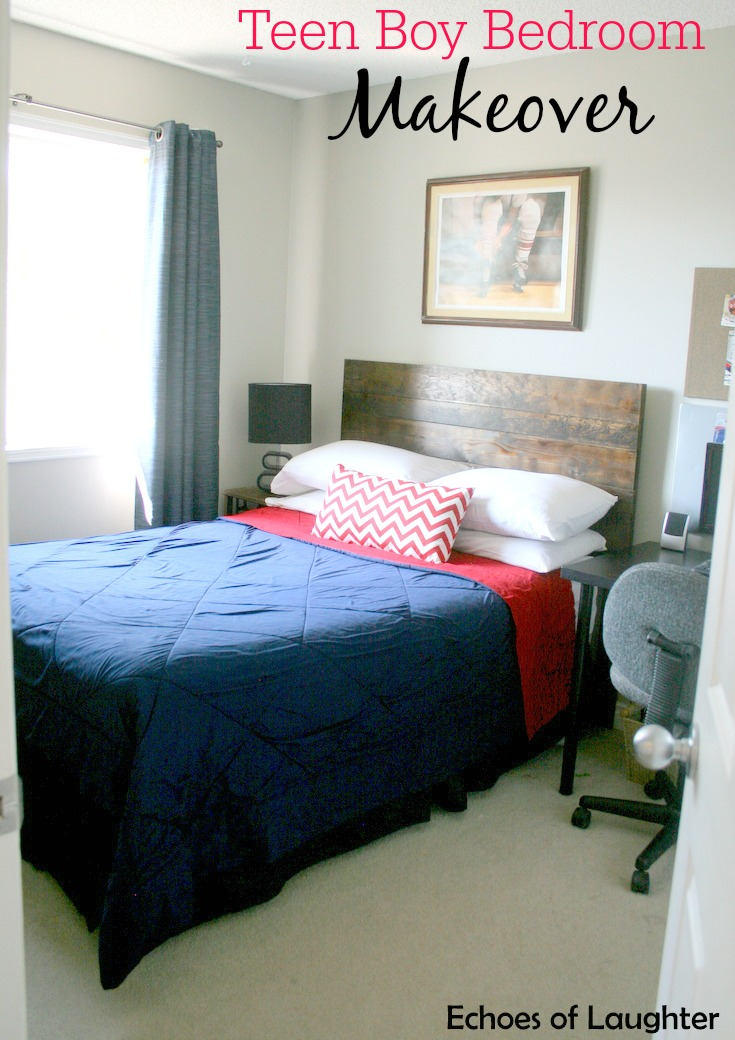 Teen boy bedroom makeover echoes of laughter for Bedroom makeover