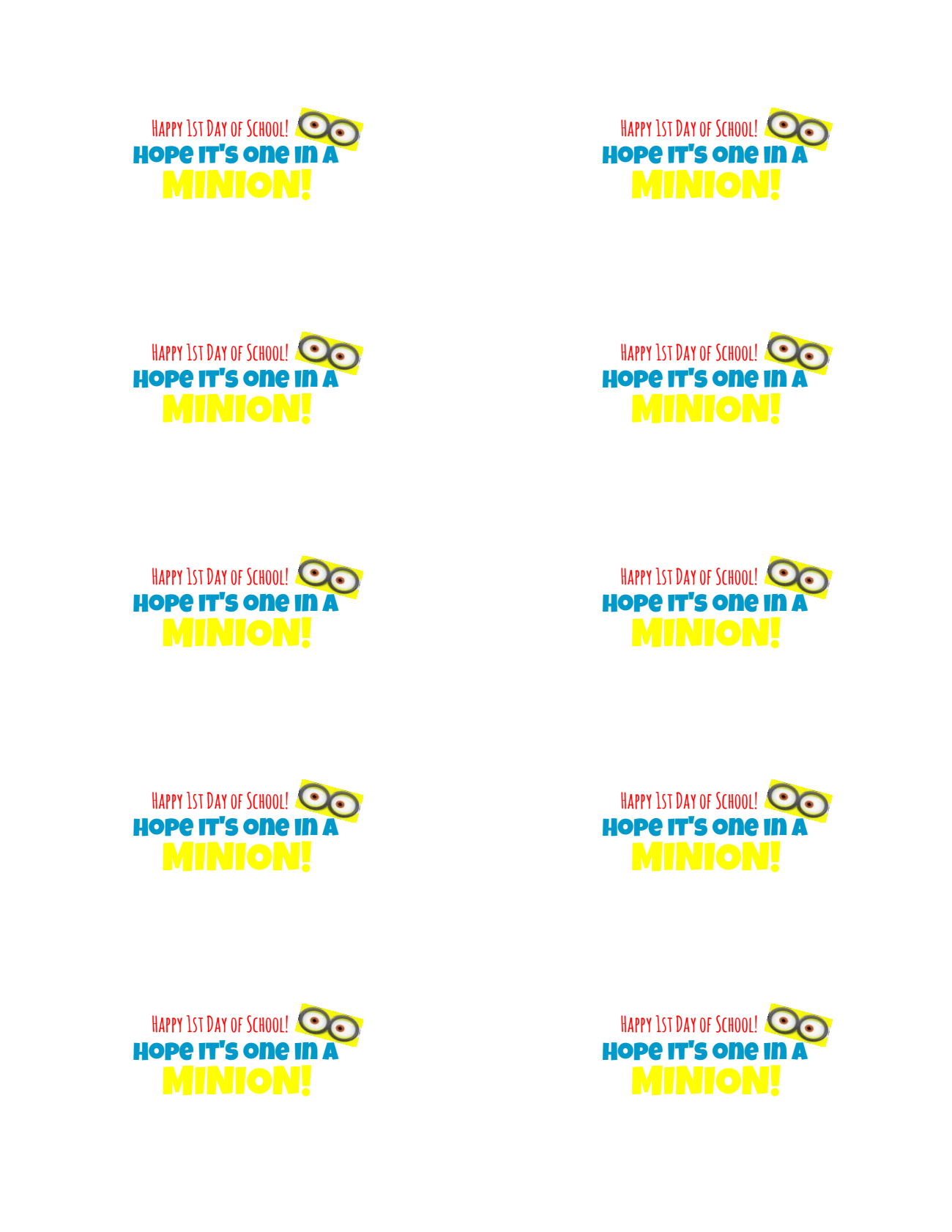 Minions Printable Picture