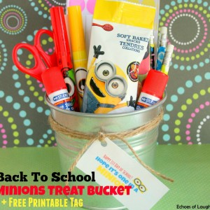 Back To School Minions Treat Bucket with Free Printable Tag